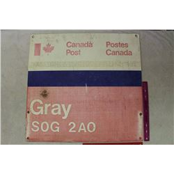 "Canada Post 'Gray S0G 2A0' Metal Sign (24""x23"")"