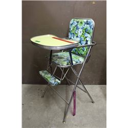 Vintage Folding Doll High Chair w/Floral Pattern