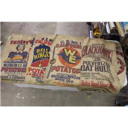 Lot Of Vintage Sacks (5) (Oat Husks, Potatoes)