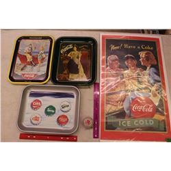 Lot Of Coke Memorabilia, (Poster, Trays, Yo-yo)