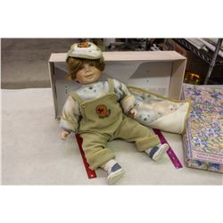 Large Collectible Doll, Porcelain, With Box