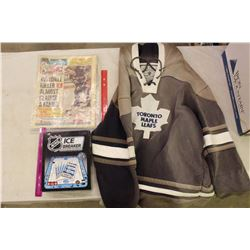 Lot Of Of Hockey Memorabilia (Throwback Maple Leaf Hoodie, NHL Boardgame, 1988 Hockey News)