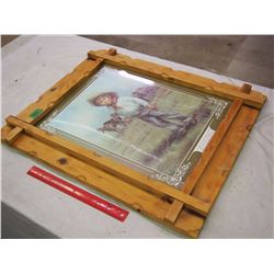 Wooden Frame With Western Print