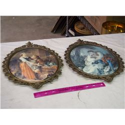 Pair Of Rounded Glass Wall Hangings