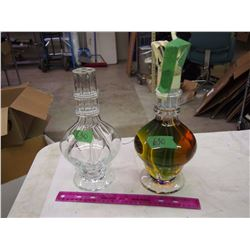 Pair Of Quad Chambered Decanters, One Full