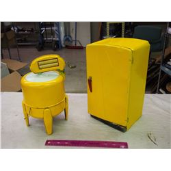 Pair Of Tin Appliance Toys (Fridge And Washer)