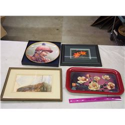 Lot Of Misc. (Tray, Collectible Plate, Framed Picture)