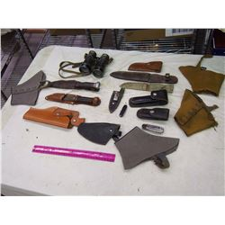 Pair Of Knives, Binoculars, Assortment Of Sheaths