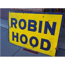 "Antique Robin Hood Porcelain Sign, 27""x40"""