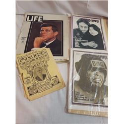 Lot Of Magazines (1937 Almanac, Rolling Stones, Life, JFK Related)