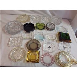 Lot Of Assorted Glass Ashtrays