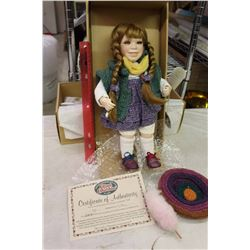 Pippi Porcelain Doll, Cottage Collectibles W/ Certificate, Ex. Condition