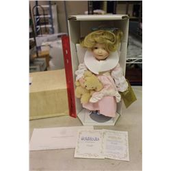 Goldilocks Porcelain Doll, Franklin Heirloom Dolls W/ Certificate, Ex. Condition