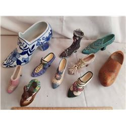 Lot Of Ceramic And Wood Ornamental Shoes