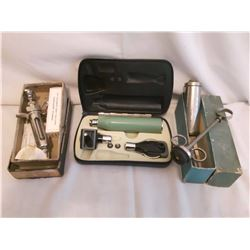 Antique Syringe Sets (2) And An Ear Checking Instrument