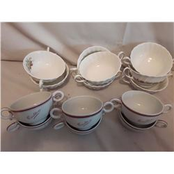 Double Handled Soup Bowls, Royal Doulton (8), Royal Worcester (6)