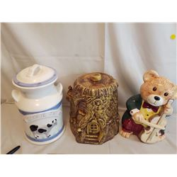 Lot Of Cookies Jars (3) (Mike Can, Tree Stump, Fiddling Bear)