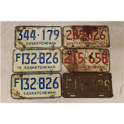 Saskatchewan License Plates (6)(1956,1971(2),1976(3))