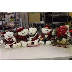 Snowflake Teddy's (4)& Christmas Flowers In A Sleigh Decoration Piece
