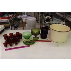 Lot of Assorted Glassware& A Enamel Pot