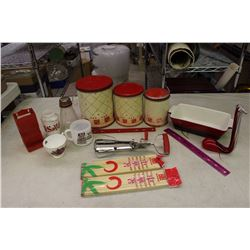 Lot of Red Coloured Kitchenware (Rose Matchbox, Canisters, Etc;)