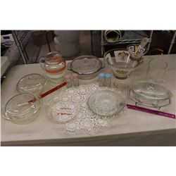 Lot of Glass Dishes (Assorted Casserole Dishes, Jugs, S&P Shakers, Etc;)