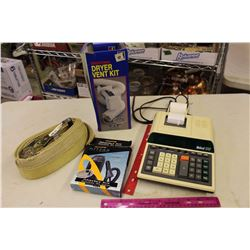 Ibico 1232 Electric Calculator(Working), Dryer Vent Kit, Car Strap, Etc