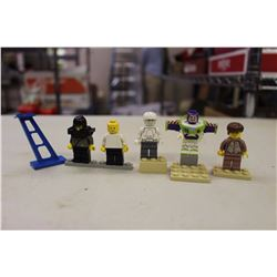 Lego Figures(5)(Harry Potter, Buzz Lightyear, Etc)