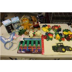 Lot of Misc (Stuffed Animals, Fruit Decorations, Tractor Related, Etc)