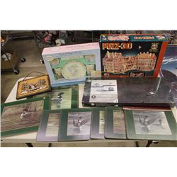 Lot of Misc(Precious Moments Set, 3D Puzzle, Geese Place Mats, Etc)