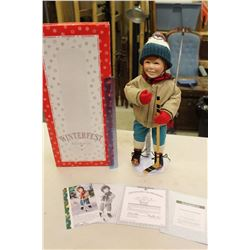 Brian Porcelain Doll, Winterfest Collecton, Ashton Drake Galleries W/ Certificate Of Authenticity