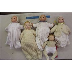 Lot Of Vintage Baby Dolls (5) (Ceramic Heads And Cloth Bodies)