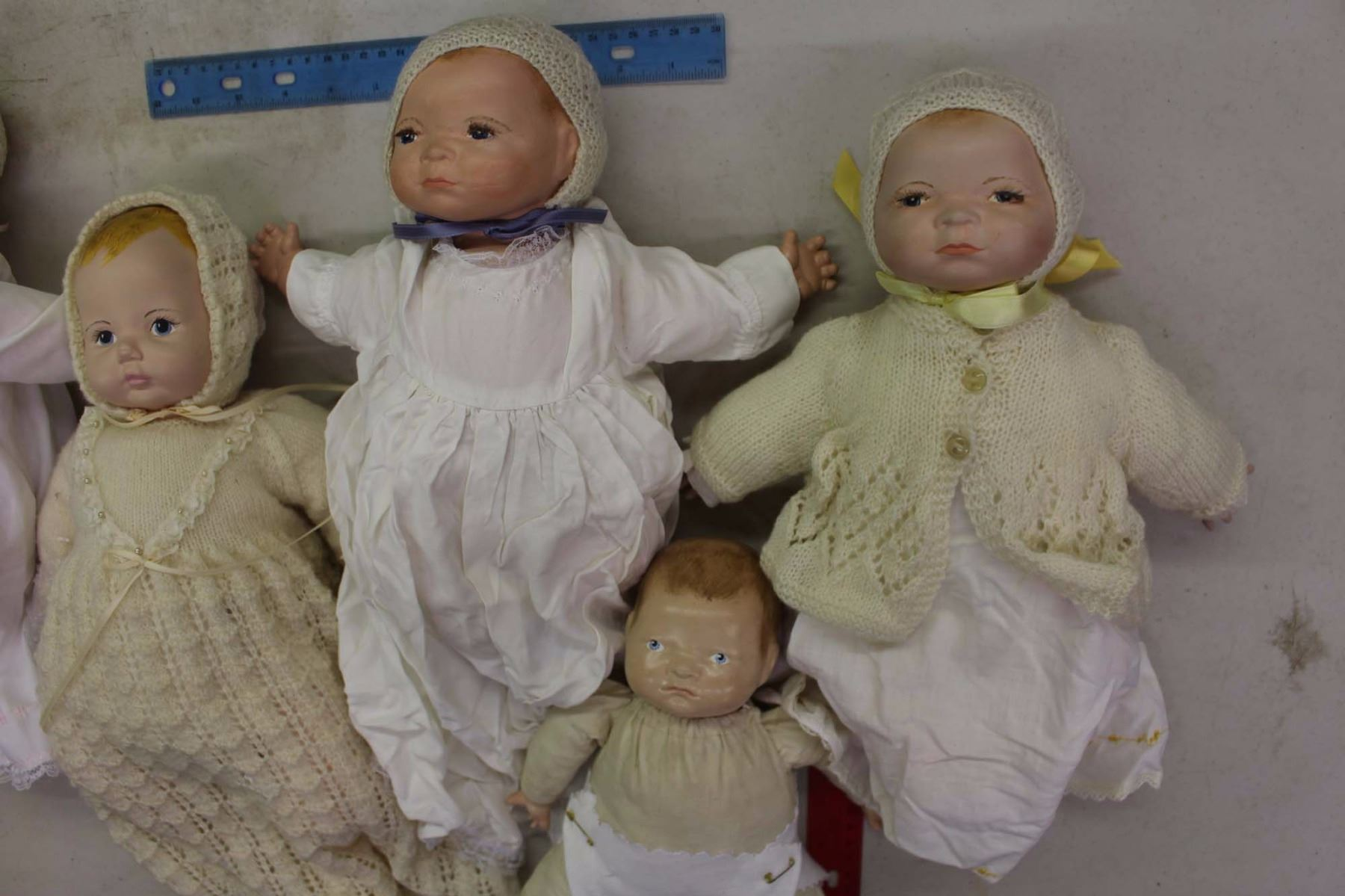 Lot Of Vintage Baby Dolls 5 Ceramic Heads And Cloth Bodies