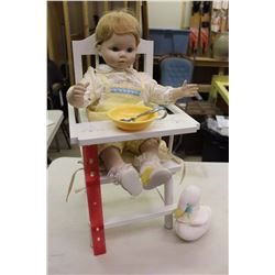 Sitting Pretty Porcelain Doll W/ Highchair