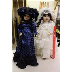 Lot Of Porcelain Dolls W/ Stands (2)