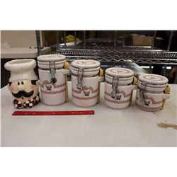 Chef Canister Set And Utensil Holder