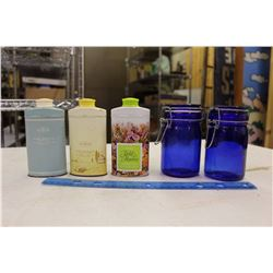 Avon Perfume Bottles(3)& Pair of Cobalt Jars