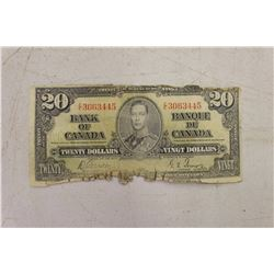 1937 Canadian $20.00 Bill