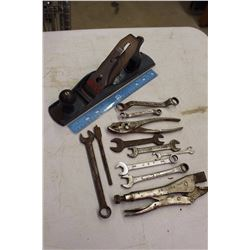 Metal Stanley Plane w/An Assortment of Wrenches