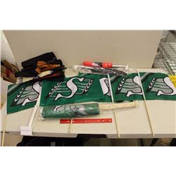 Huge Lot Of Saskatchewan Rough Rider Mini Flags (17) W/ Lots Of Extra Flags and Scrolls