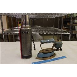 Vintage Coleman Gas Iron w/An Aladdin Metal Thermos