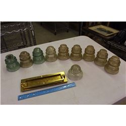 Lot of Dominion 42 Insulators w/A Brass Mail Slot