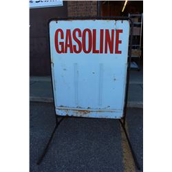 "Tin Gasoline Sign With Stand (39""x60"")"