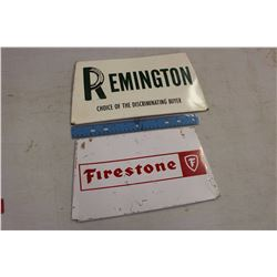 Firestone& Remington Metal Signs