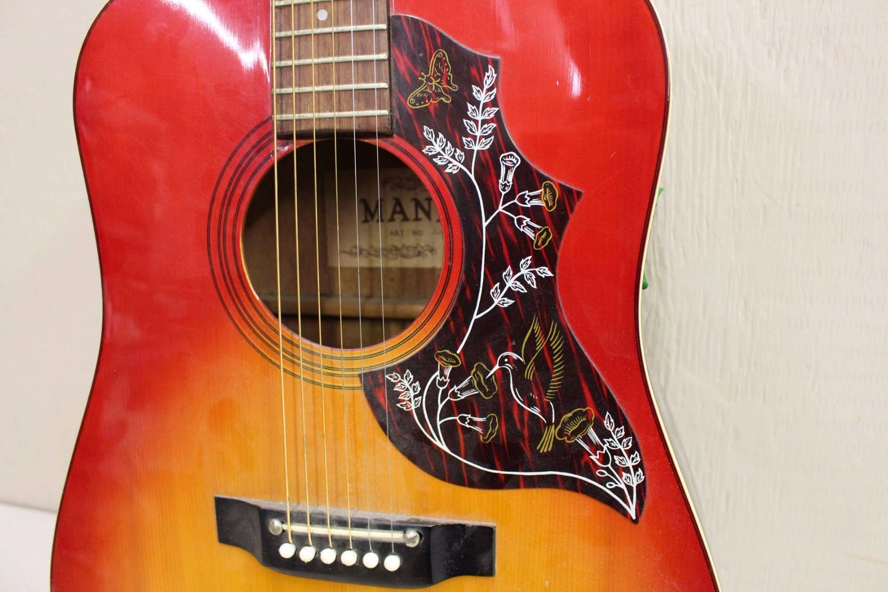 Mann acoustic guitar with hummingbird design for Acoustic guitar decoration