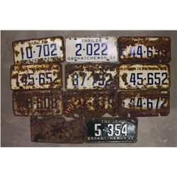 Saskatchewan License Plates (11)(1945,1956,1959(3),1961(6))