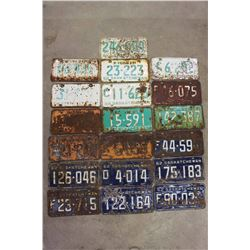 Saskatchewan License Plates (19)(1962(7),1963(3),1965(2),1966(7))