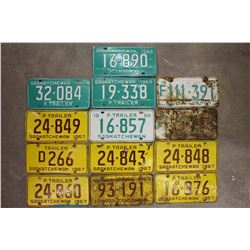 Saskatchewan License Plates (13)(1967(7),1968(3),1969(3))