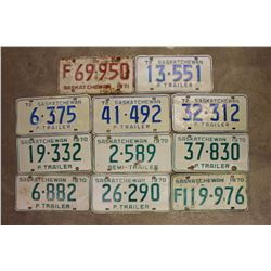 Saskatchewan License Plates (11)(1970(6),1971,1972(4))