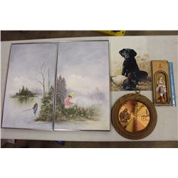 "Lot of Decorative Wall Pieces (Framed Painting 24""x14"")"